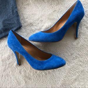 J.Crew Blue Suede Almond Toe Pumps Size 8.5